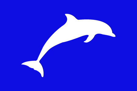 deep blue: dolphin on blue background Illustration