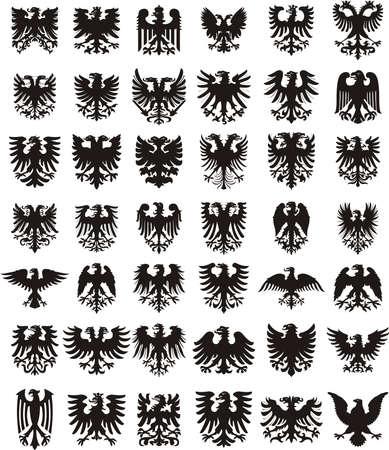 adler silhouette: Heraldische Adler festlegen Lizenzfreie Bilder