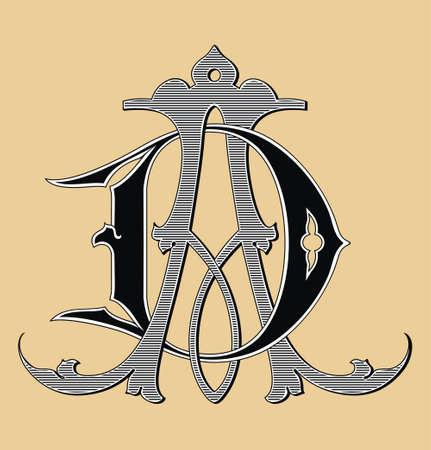 monogram: Vintage monogram AC tattoo