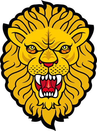 crowned: Lion roaring Stock Photo