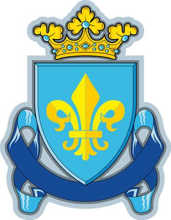 Heraldic shield ribbons crown and swor Stock Photo - 21601397