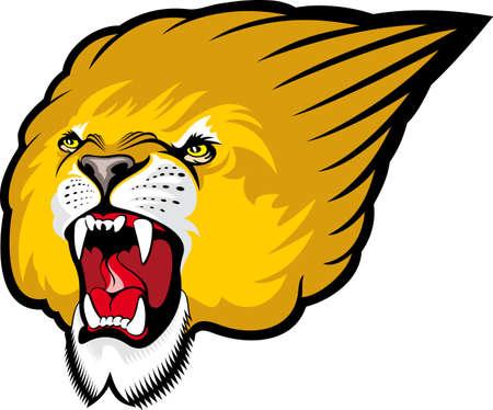 Lion roaring photo