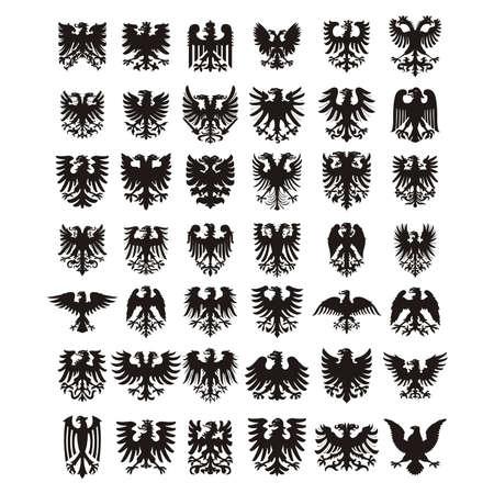 kurtka: Ustawić orły heraldyczne wektor sylwetki