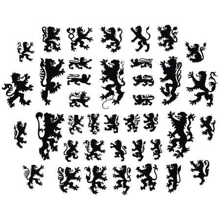 Lions héraldiques silhouettes Vecteur Banque d'images - 24805593