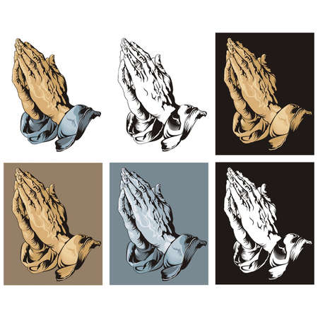 durer: Praying Hands set  Vector