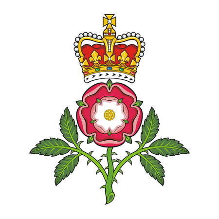 Royal badge of England Heraldic Tudor rose and S Edward s Crown  Vector