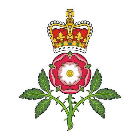 Royal kenteken van Engeland Heraldische Tudor roos en S Edward s Crown Vector Stock Illustratie