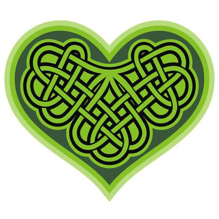 irish: Shamrock heart  Celtic symbo  Vector