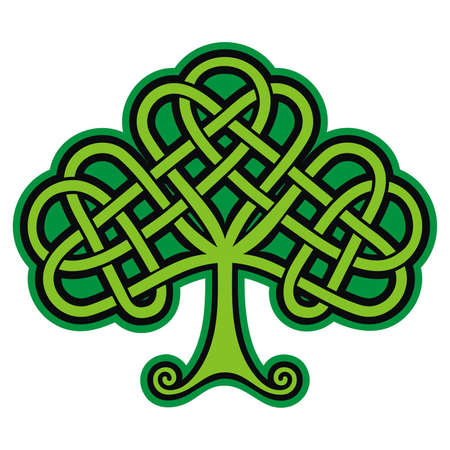 celtic symbol: Shamrock  Celtic Tattoo  Vector Illustration