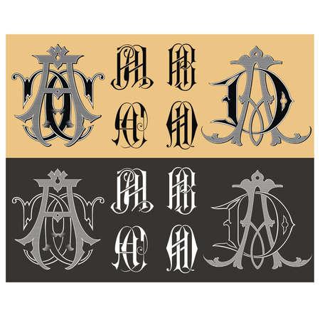 Vintage monogram AA,AB,AC,AD tattoo Vector  Vector