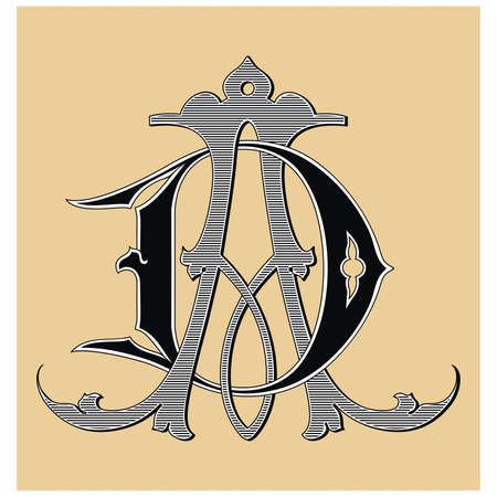 gothic letters: Vintage monogram tattoo  Vector