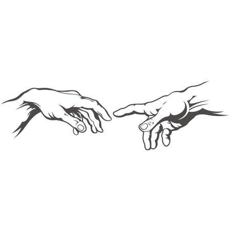 Hand zu Hand Tattoo. Erschaffung Adams. Illustration