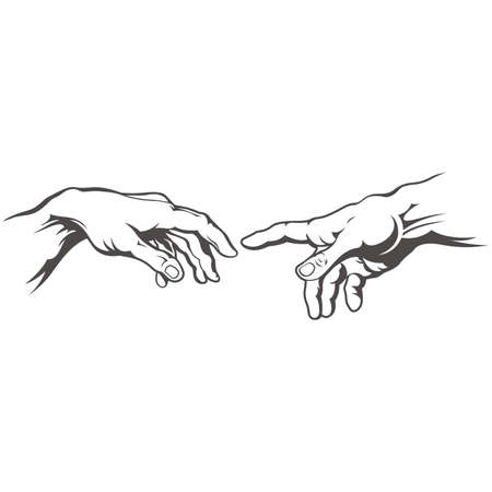 Hand to hand tattoo. Creation of Adam. Illustration