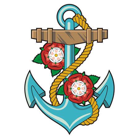 ancre marine: Ancre et roses tatouage  vecteur