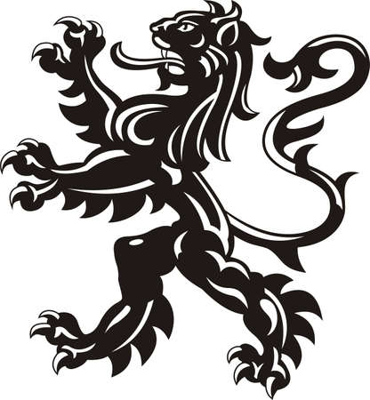 medieval banner: Heraldic lion tattoo Stock Photo