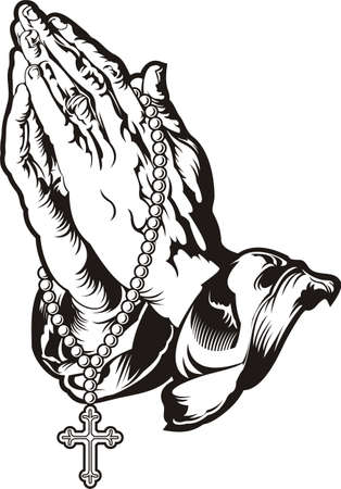 Praying hands with rosary tattoo