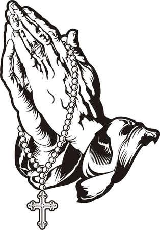 różaniec: Modląc się za ręce z różańcem tatuaż Zdjęcie Seryjne