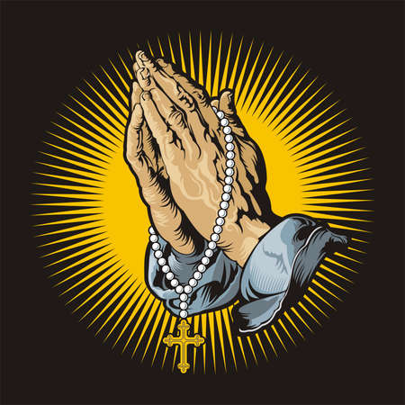 handcarves: Praying hands with rosary and shining Stock Photo