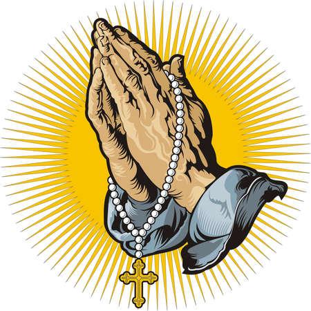 różaniec: Modląc się za ręce z różańcem i lśniące
