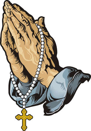 handcarves: Praying hands with rosary