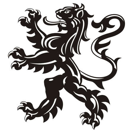 Heraldic lion tattoo / vector Stock Illustratie
