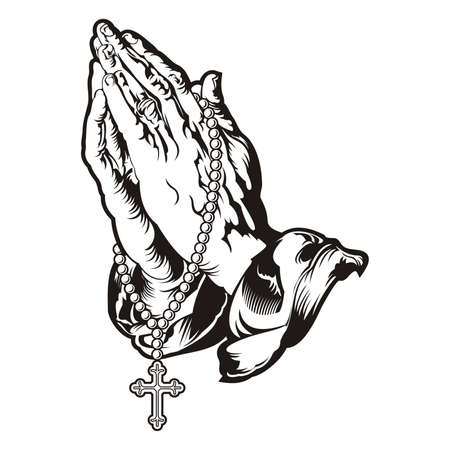 Praying hands with rosary tattoo / vector Stock Illustratie
