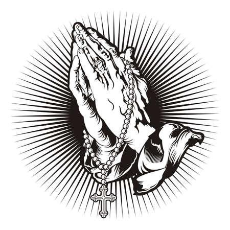 różaniec: Modląc się za ręce z różańcem i świeci tatuaż