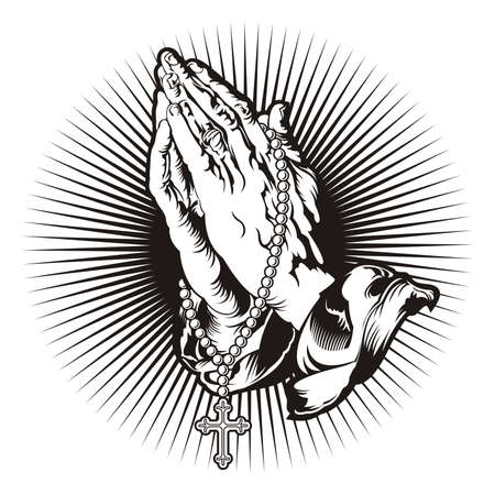 Praying hands with rosary and shining tattoo