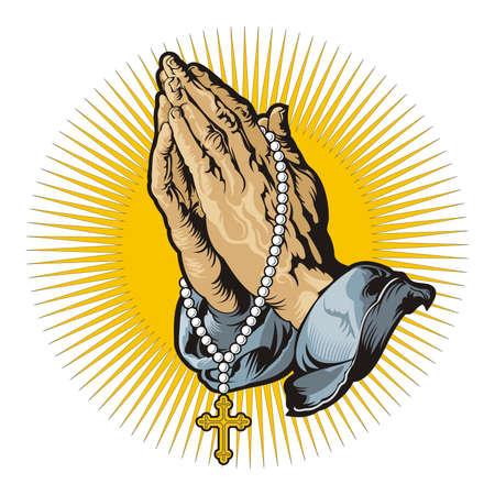 różaniec: Modląc się za ręce z różańcem i świeci  wektor