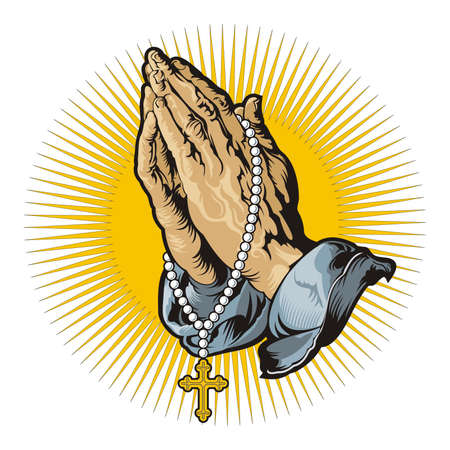 Praying hands with rosary and shining / vector