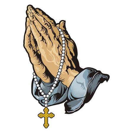 manos orando: Manos de rogación con el rosario  vector Vectores