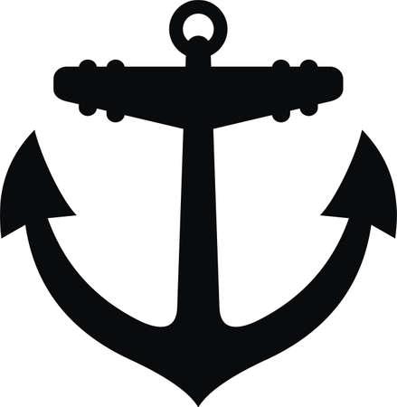 sail: Anchor black silhouette tattoo Stock Photo
