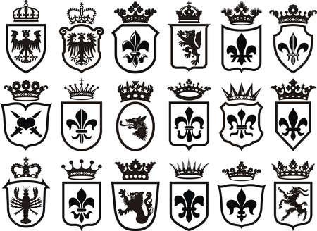 Coat of Arms set heraldic element) Banco de Imagens - 61920992