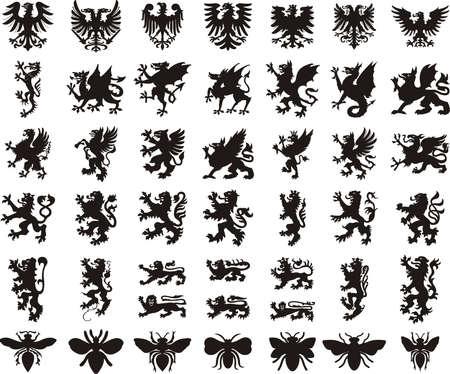 Heraldic elements set: eagle, dragon, lion, bee