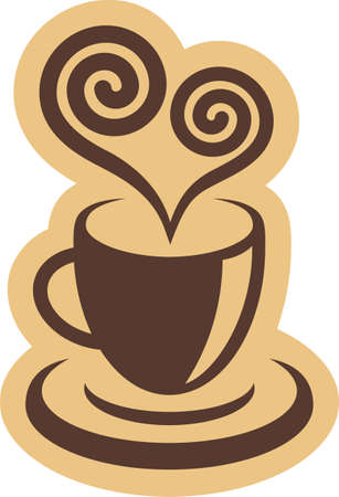 Coffee cup and heart symbol