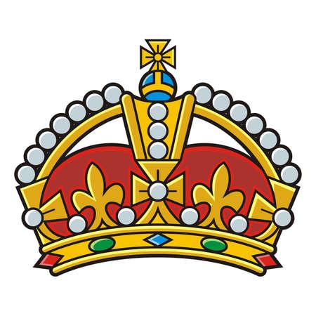 Heraldic gold crown vector Ilustração