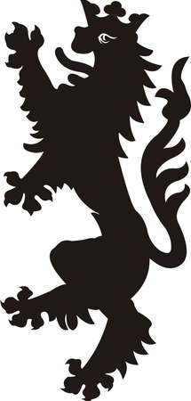 Heraldic lion tattoo. Black  white silhouette