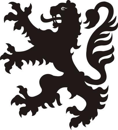 Heraldic lion tattoo Stock Illustratie