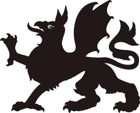 Heraldic dragon tattoo. Dlack / white silhouette Stock Illustratie