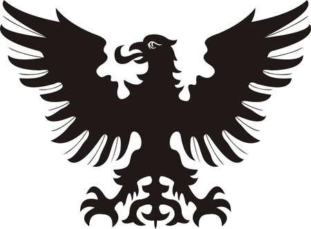 Heraldic eagle. black  white silhouette