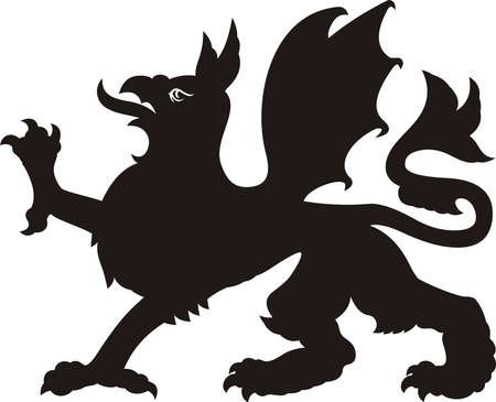 Heraldic dragon tattoo. Dlack  white silhouette