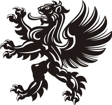 Winged lion tattoo. Black / white silhouette