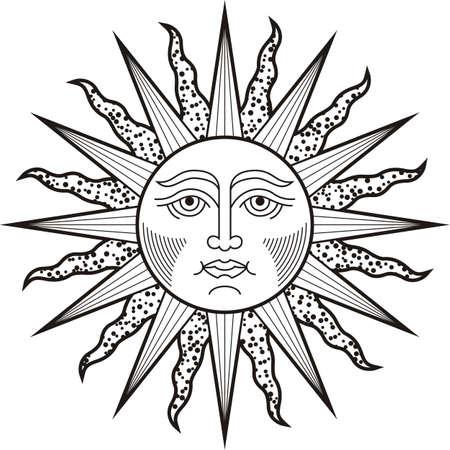 Sun face black white tattoo