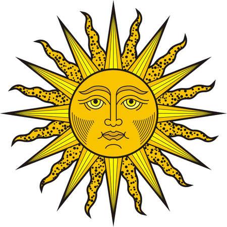 Shining sun face. Heraldic symbol illustration