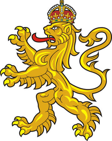 Crowded heraldic lion. Vector 일러스트