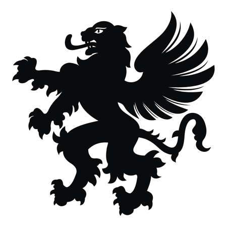 Winged lion tattoo. Black / white silhouette. Vector