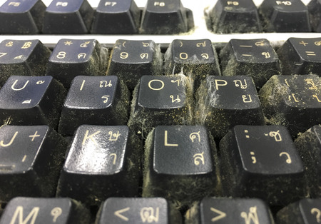 unhygienic: Close up dirty keyboard unhygienic in office