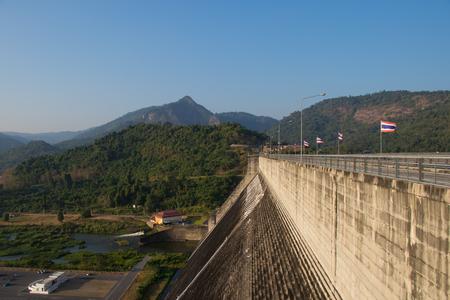 NAKHON NAYOK, THAILAND - FEB 12, 2017: Top view of Khun Dan Prakan Chon Dam in evening, the famous landmark on February 12, 2017 in Nakorn Nayok, Thailand