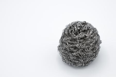 Steel wool wire or metal sponge on white background