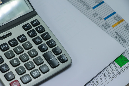 Calculator and financial accounting concept of business